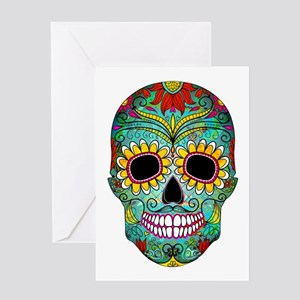Colorful Retro Flowers Sugar Skull Greeting Cards