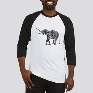 Black And White Ornate Floral Elephant Baseball Je