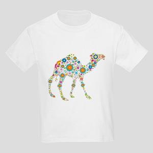 Colorful Retro Flowers Camel T-Shirt