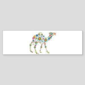 Colorful Retro Flowers Camel Bumper Sticker