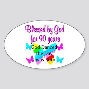90TH GODS LOVE Sticker (Oval)