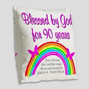 PRECIOUS 90TH Burlap Throw Pillow