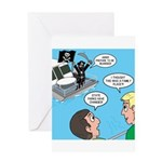 Houseboat Pirate Greeting Card