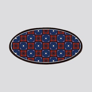 Red and Navy Retro Style Pattern Patches