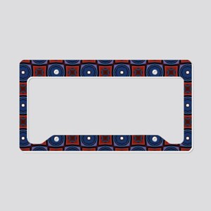 Red and Navy Retro Style Patt License Plate Holder