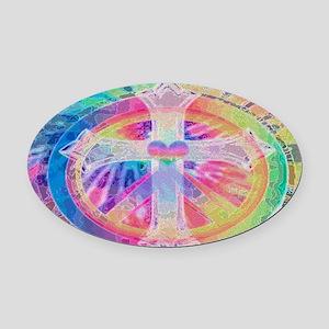 Tye Dye Cross Oval Car Magnet