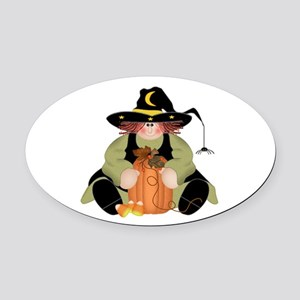 Spider Witch Oval Car Magnet