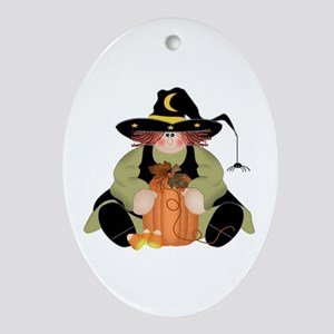 Spider Witch Ornament (Oval)