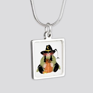 Spider Witch Silver Square Necklace