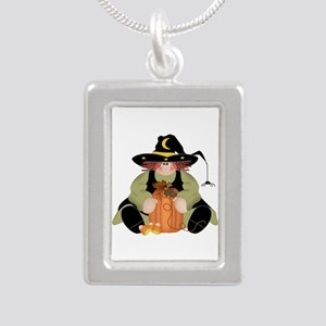 Spider Witch Silver Portrait Necklace