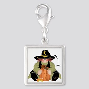 Spider Witch Silver Square Charm