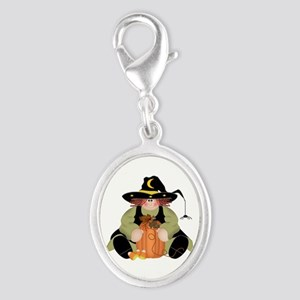 Spider Witch Silver Oval Charm