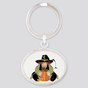 Spider Witch Oval Keychain