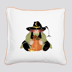Spider Witch Square Canvas Pillow