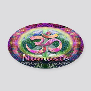 Namaster Tree of Life Peace Symbol Oval Car Magnet