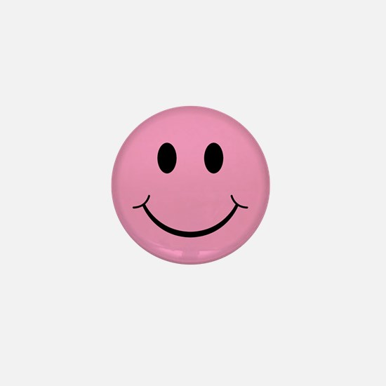 Pink Smiley Face Mini Button