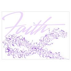 Purple Cancer Awareness Ribbon Wall Art Poster