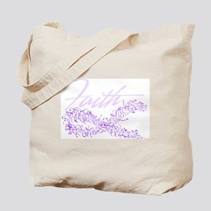 Purple Cancer Awareness Ribbon Tote Bag