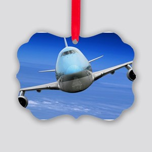 Airplane turning right over Alask Picture Ornament