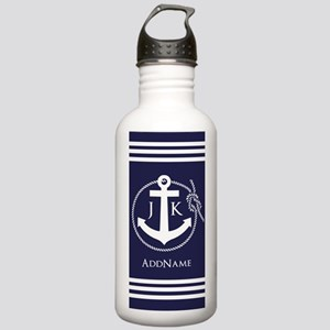 Nautical Rope and Anchor Monogram Water Bottle