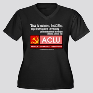 ACLU: War On Christ Women's Plus Size V-Neck Dark