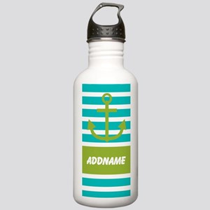 Teal Green Stripe Anchor Personalized Water Bottle