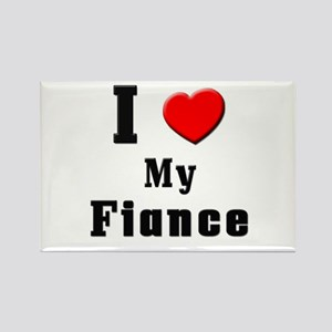 I Love Fiance Rectangle Magnet