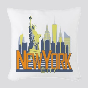 NYC Skyline Bold Woven Throw Pillow