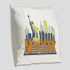 NYC Skyline Bold Burlap Throw Pillow