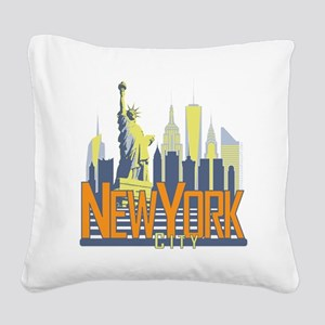 NYC Skyline Bold Square Canvas Pillow