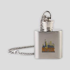 NYC Skyline Bold Flask Necklace
