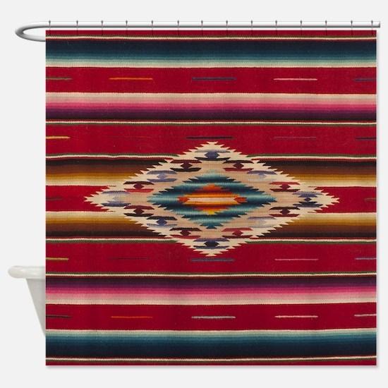Southwest Red Saltillo Serape Shower Curtain