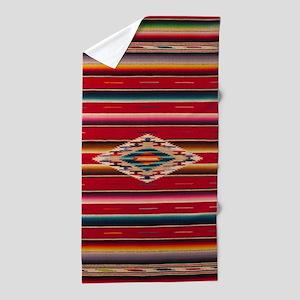 Southwest Red Saltillo Serape Beach Towel