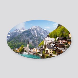 Beautiful summer Alpine Hallstatt  Oval Car Magnet