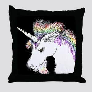 Unicorn Rainbow Mane Throw Pillow