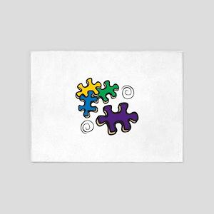 Jigsaw Swirls 5'x7'Area Rug
