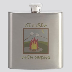 Life Is Great When Camping Flask