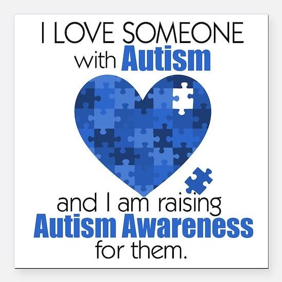 """Autism Raising Square Car Magnet 3"""" x 3"""""""
