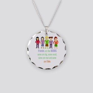 Friends Are Like Boobs Fun Necklace Circle Charm
