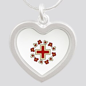 Floral Red Cross Necklaces