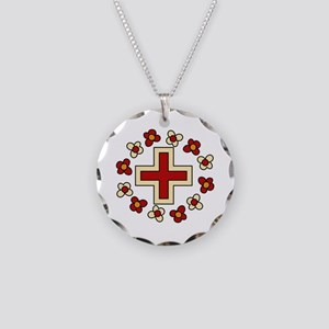 Floral Red Cross Necklace