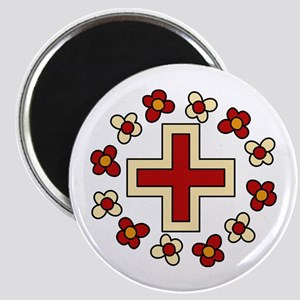 Floral Red Cross Magnets