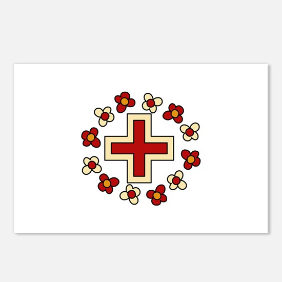 Floral Red Cross Postcards (Package of 8)