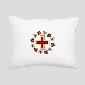 Floral Red Cross Rectangular Canvas Pillow