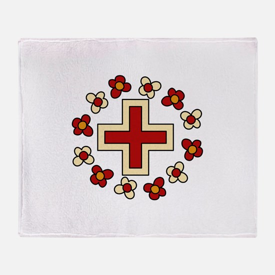Floral Red Cross Throw Blanket