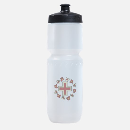 Floral Red Cross Sports Bottle