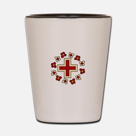 Floral Red Cross Shot Glass