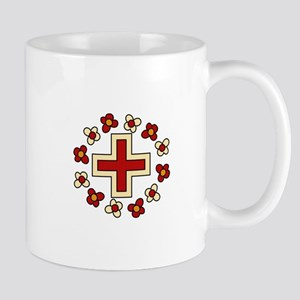 Floral Red Cross Mugs