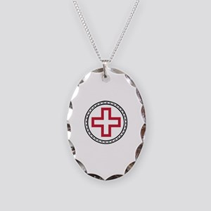 Circled Red Cross Necklace