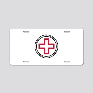 Circled Red Cross Aluminum License Plate